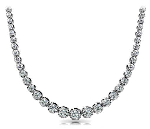 Round Moissanite Bezel Degrade Tennis Necklace - 9.73tcw