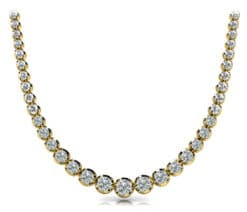 Round Moissanite Bezel Degrade Tennis Necklace - 9.73tcw