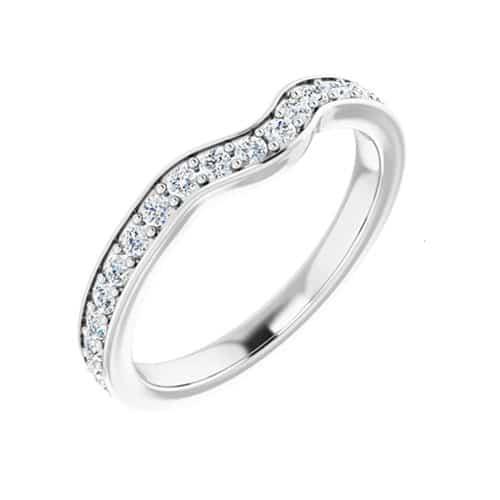 Round Moissanite Matching Band Ring - 0.37tcw