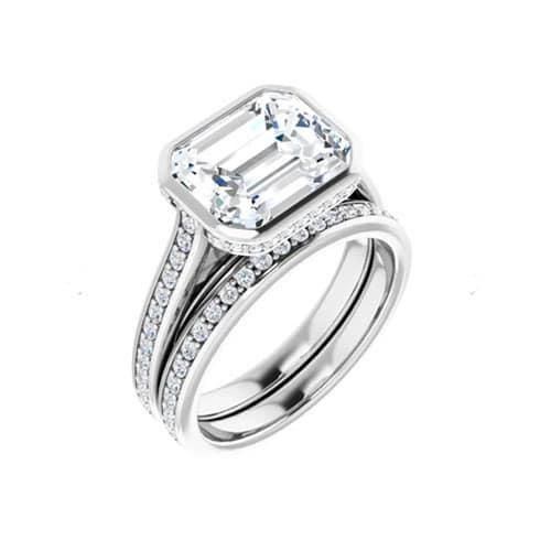Round Moissanite Matching Wedding Ring - 0.21tcw