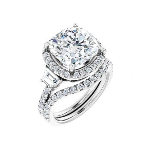 Round Moissanite Matching Wedding Ring - 0.32tcw