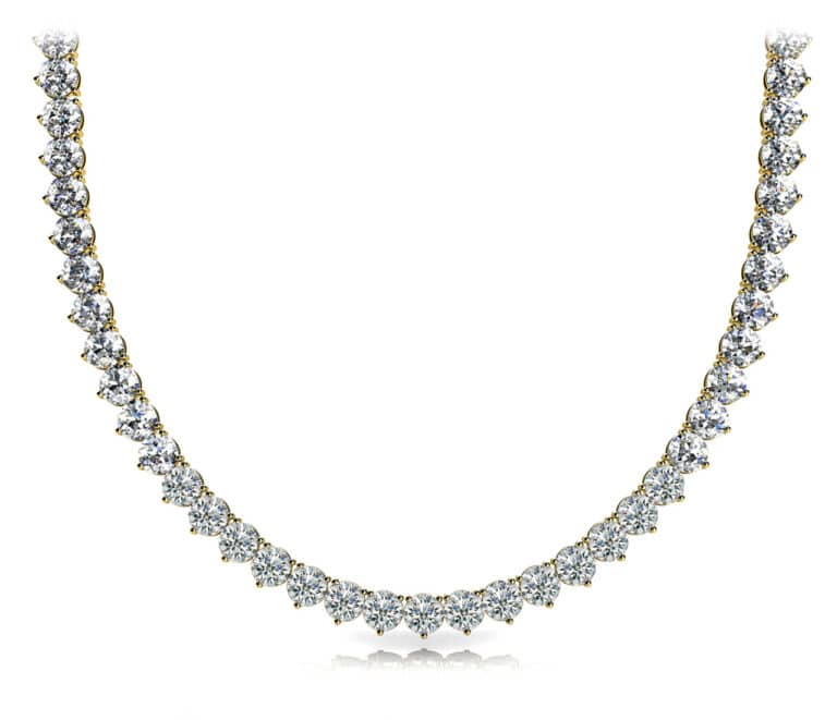 Round Moissanite Riviera Tennis Necklace - (8.82tcw - 18.72tcw)