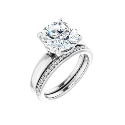 Round Moissanite Wedding Band Eternity Ring - 0.21tcw-122288ma289