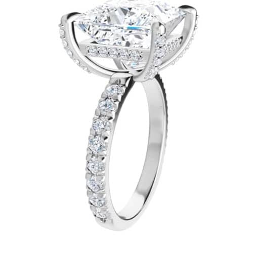 Square Moissanite Hidden Halo Engagement Ring - 1.76tcw - 6.73tcw