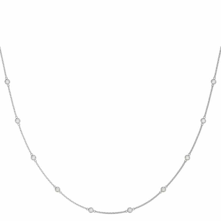 Round Moissanite Bezel Tennis Necklace by The Yard - 1.00tcw - 10.00tcw