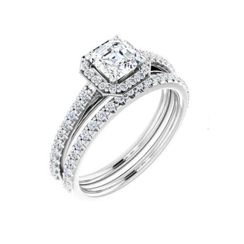 Asscher Moissanite Halo Bridal Set Rings - 1.49tcw - 2.24tcw