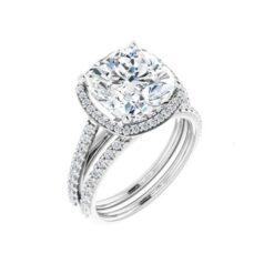 Cushion Moissanite Halo Bridal Set Rings - 1.69tcw - 5.61tcw