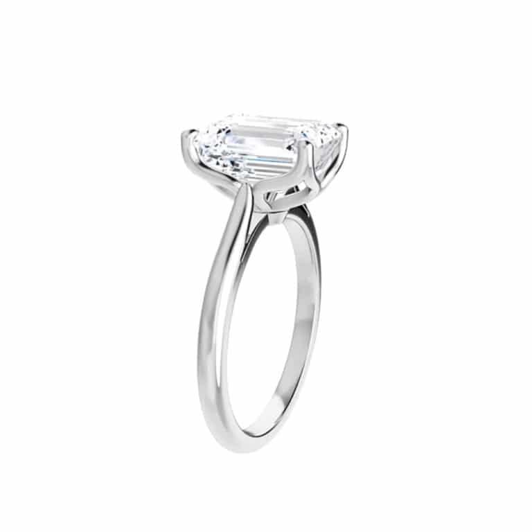 Emerald Moissanite Unique Solitaire Ring - 1.01ct - 3.55ct