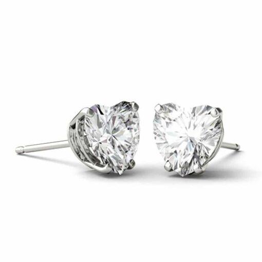 Heart Moissanite Stud Earrings - 1.60tcw - 3.60tcw