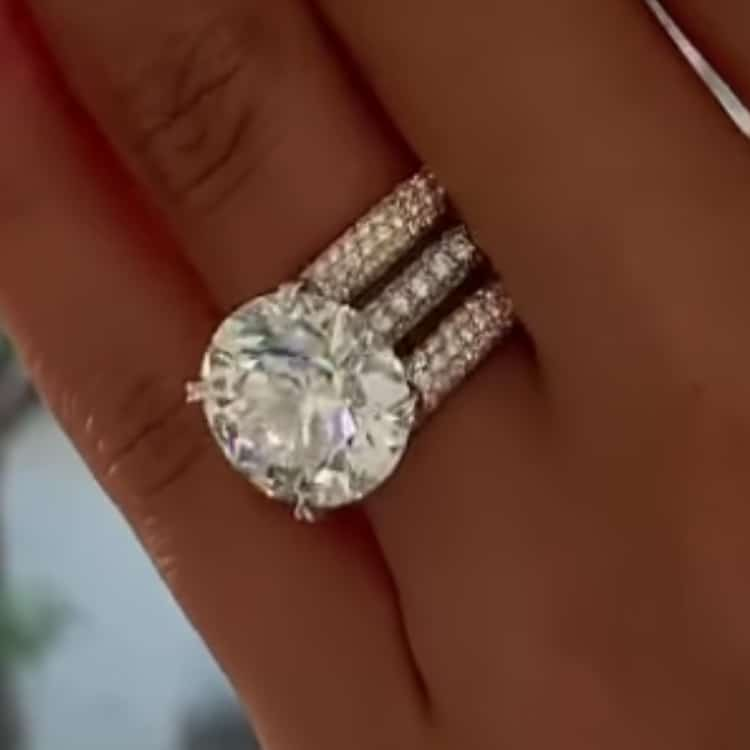 9.00tcw Round Moissanite Forever One Colorless Wedding Set Rings