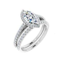 Marquise Moissanite Halo Bridal Set Rings - 1.58tcw - 2.38tcw