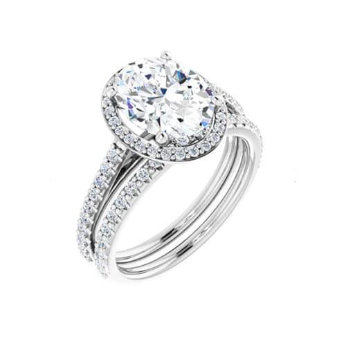 Oval Moissanite Halo Bridal Set Rings - 1.46tcw - 6.36tcw