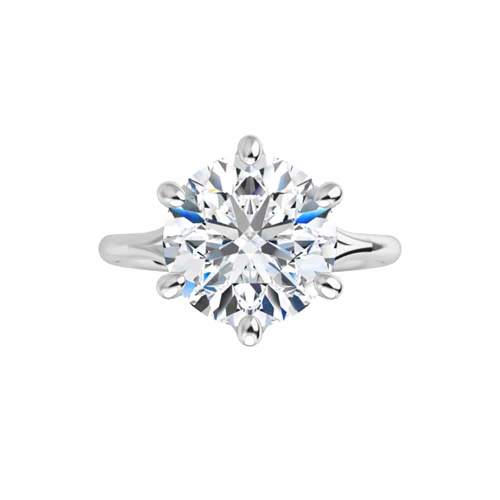 Round Moissanite Cathedral Solitaire Ring - 1.00tcw - 6.13tcw