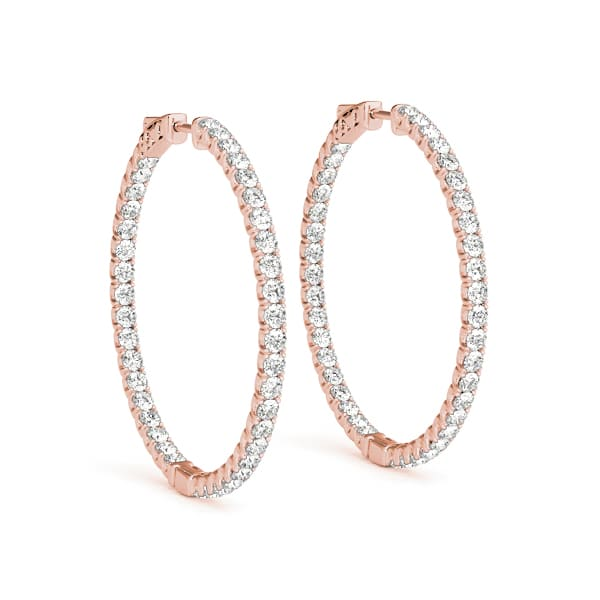 Round Moissanite Inside Out Hoop Earrings - 5.04tcw - 12.00tcw