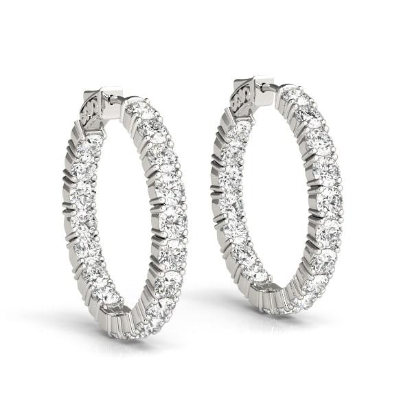 Round Moissanite Inside Outside Hoop Earrings - 3.84tcw - 8.32tcw