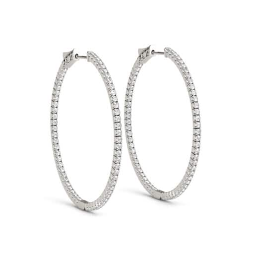 Round Moissanite Inside Outside Hoop Earrings - 0.40tcw - 1.60tcw