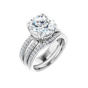 Round Moissanite Split Shank Halo Bridal Set Rings - 1.50tcw - 4.10tcw