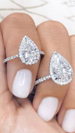 4.10tcw Pear Moissanite Colorless Halo Ring