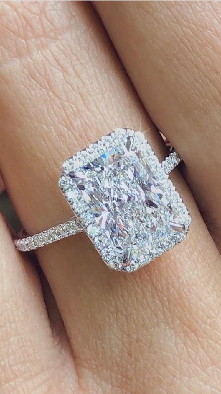 4.15tcw Radiant Moissanite Forever One Halo Ring