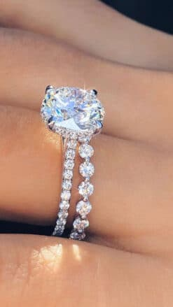 6.20tcw Round Moissanite Forever One Halo Bridal Set Rings