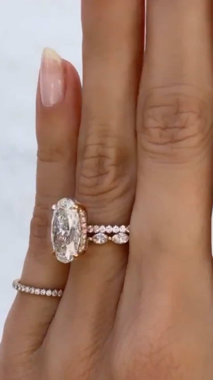 4.90tcw Oval Moissanite Hidden Halo Engagement Ring in Rose Gold