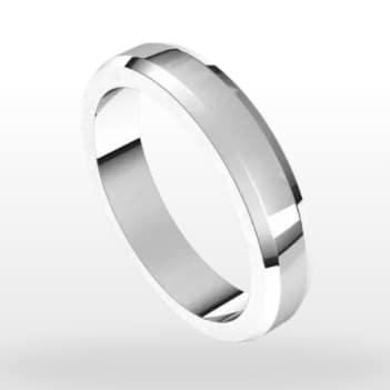 Beveled Edge Wedding Ring, Flat Profile, 4mm Width