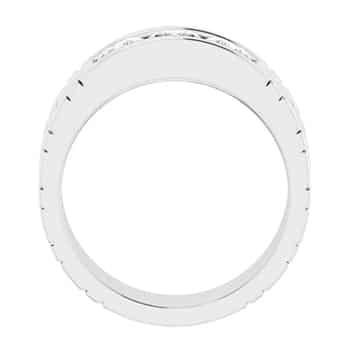 Cushion Moissanite Three Stone Mens Wedding Ring - 0.36tcw to 1.80tcw