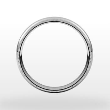 Double Milgrain Wedding Ring, Half Round Profile, 4mm Width