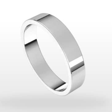 Classic Wedding Ring, Flat Profile, 4mm Width