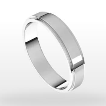Stepped Edge Wedding Ring, Flat Profile, 4mm Width
