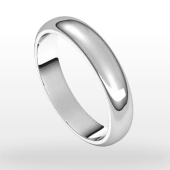 Classic Wedding Ring, Half Round Profile, 4mm Width