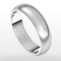 Wedding Ring Satin Finish, Half Round Profile, 5mm Width
