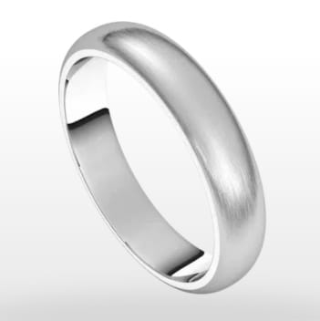 Wedding Ring Satin Finish, Half Round Profile, 4mm Width