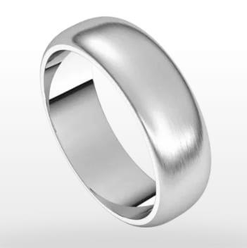 Wedding Ring Satin Finish, Half Round Profile, 6mm Width