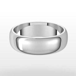 Classic Wedding Ring, Half Round Profile, 6mm Width