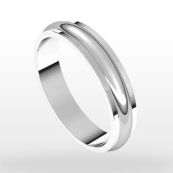 Stepped Edge Wedding Ring, Half Round Profile, 4mm Width