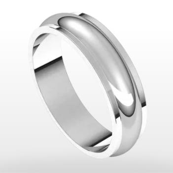 Stepped Edge Wedding Ring, Half Round Profile, 5mm Width