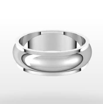 Stepped Edge Wedding Ring, Half Round Profile, 6mm Width