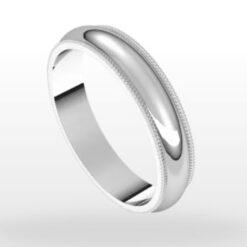 Standard Milgrain Wedding Ring, Half Round Profile, 4mm Width
