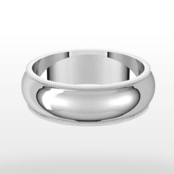 Standard Milgrain Wedding Ring, Half Round Profile, 6mm Width