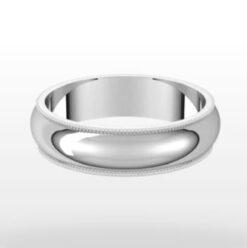 Standard Milgrain Wedding Ring, Half Round Profile, 5mm Width