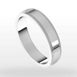 Stepped Edge Milgrain Wedding Ring, Flat Profile, 4mm Width