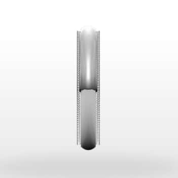 Stepped Edge Milgrain Wedding Ring, Half Round Profile, 4mm Width
