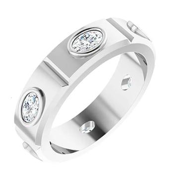 Oval Moissanite Men's Wedding Eternity Ring - 1.56tcw to 3.00tcw
