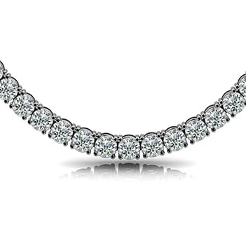 Round 4 Prongs Riviera Necklace, 4.0mm Width - (15.84tcw - 23.76tcw)