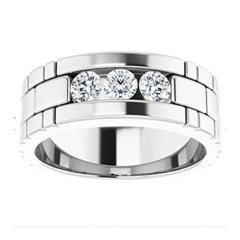 Round Moissanite Three Stone Mens Wedding Ring - 0.30tcw to 2.40tcw