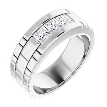 Square Moissanite Three Stone Mens Wedding Ring - 0.54tcw to 3.90tcw