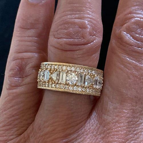 2.27tcw Diamond Semi Eternity Rings in 14K Yellow Gold size 6 3/4