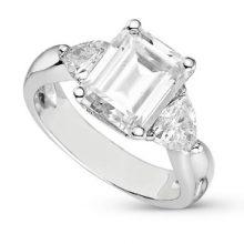 Emerald Moissanite Forever One Three Stone Ring
