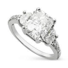 Radiant & Half Moon Moissanite Forever One 3 Stone Pave Ring